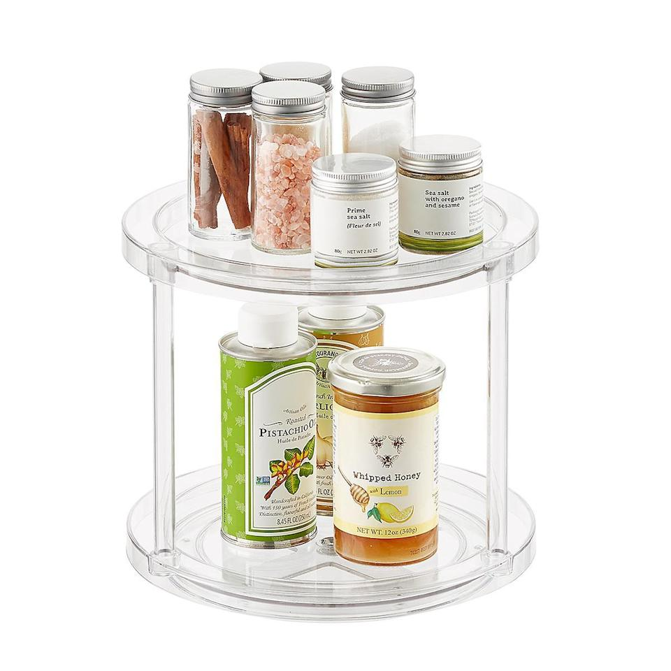 "<h3>Use turntables to make sure popular ingredients don't get buried</h3><br>""Use turntables to display the most-used spices, canned goods, salad dressings, vinegar, and condiments.""<br><br><strong>The Home Edit</strong> 9"" Lazy Susan, $, available at <a href=""https://go.skimresources.com/?id=30283X879131&url=https%3A%2F%2Fwww.containerstore.com%2Fs%2Fkitchen%2Fthe-home-edit-collection%2Fthe-home-edit-9-lazy-susan%2F12d%3FproductId%3D11010741"" rel=""nofollow noopener"" target=""_blank"" data-ylk=""slk:The Container Store"" class=""link rapid-noclick-resp"">The Container Store</a><br><br><strong>The Home Edit</strong> 2-Tier Lazy Susan, $, available at <a href=""https://go.skimresources.com/?id=30283X879131&url=https%3A%2F%2Fwww.containerstore.com%2Fs%2Fkitchen%2Fthe-home-edit-collection%2Fthe-home-edit-2-tier-lazy-susan%2F12d%3FproductId%3D11010526"" rel=""nofollow noopener"" target=""_blank"" data-ylk=""slk:The Container Store"" class=""link rapid-noclick-resp"">The Container Store</a><br><br><strong>The Home Edit</strong> Large Lazy Susan, $, available at <a href=""https://go.skimresources.com/?id=30283X879131&url=https%3A%2F%2Fwww.containerstore.com%2Fs%2Fkitchen%2Fthe-home-edit-collection%2Fthe-home-edit-large-lazy-susan%2F12d%3FproductId%3D11011327"" rel=""nofollow noopener"" target=""_blank"" data-ylk=""slk:The Container Store"" class=""link rapid-noclick-resp"">The Container Store</a><br><br><strong>The Home Edit</strong> Divided Lazy Susan, $, available at <a href=""https://go.skimresources.com/?id=30283X879131&url=https%3A%2F%2Fwww.containerstore.com%2Fs%2Fkitchen%2Fthe-home-edit-collection%2Fthe-home-edit-divided-lazy-susan%2F12d%3FproductId%3D11010527"" rel=""nofollow noopener"" target=""_blank"" data-ylk=""slk:The Container Store"" class=""link rapid-noclick-resp"">The Container Store</a><br><br><strong>Copco</strong> Non-Skid 2-Tier Pantry Cabinet Lazy Susan, 12-Inch, $, available at <a href=""https://www.amazon.com/Copco-2555-0187-Non-Skid-Cabinet-Turntable/dp/B0036OQWT0"" rel=""nofollow noopener"" target=""_blank"" data-ylk=""slk:Amazon"" class=""link rapid-noclick-resp"">Amazon</a><br><br><strong>Copco</strong> Non-Skid Pantry Cabinet Lazy Susan, 12-Inch, $, available at <a href=""https://www.amazon.com/Copco-2555-0190-Non-Skid-Cabinet-Turntable/dp/B0036OQWTU/"" rel=""nofollow noopener"" target=""_blank"" data-ylk=""slk:Amazon"" class=""link rapid-noclick-resp"">Amazon</a><br><br><strong>Estilo</strong> Stainless Steel Lazy Susan - 2 Tier, 360-Degree Design, $, available at <a href=""https://www.amazon.com/Estilo-Stainless-Steel-Lazy-Susan/dp/B00OPET1ZM/"" rel=""nofollow noopener"" target=""_blank"" data-ylk=""slk:Amazon"" class=""link rapid-noclick-resp"">Amazon</a>"