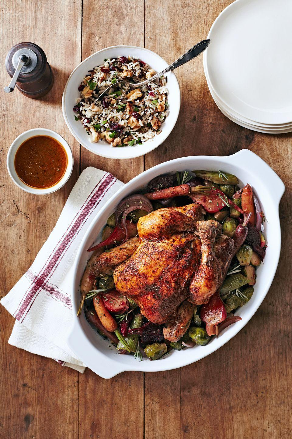 """<p>Need something healthy and hands-off? Look no further than this easy-yet-impressive dinner that's sure to please your whole flock.</p><p><strong><a href=""""https://www.countryliving.com/food-drinks/recipes/a5689/herbed-chicken-beets-brussels-recipe-clx1014/"""" rel=""""nofollow noopener"""" target=""""_blank"""" data-ylk=""""slk:Get the recipe"""" class=""""link rapid-noclick-resp"""">Get the recipe</a>.</strong></p>"""