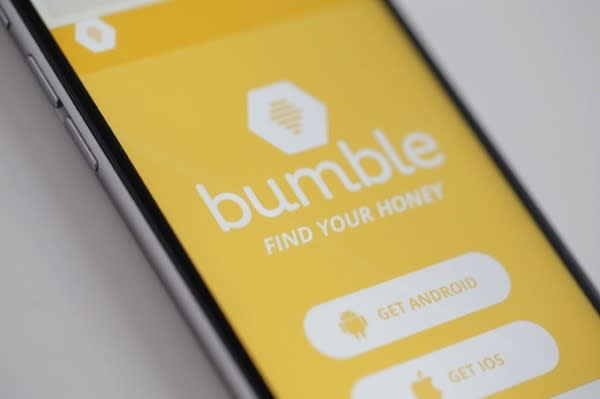 The Bumble app is seen on an iPhone on 16 March, 2017. The app is resembles Tindr in that it let's heterosexuals find each other however Bumble only lets female users start a conversation after interested parties have made a match. (Photo by Jaap Arriens/NurPhoto)