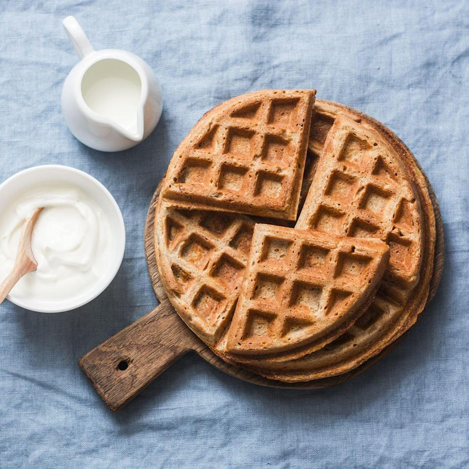 """<p>Frozen waffles are an easy, delicious swap for toast. Look for water or 100% whole grains as the first ingredient, and keep the added sugar content as low as possible. <a href=""""https://go.redirectingat.com?id=74968X1596630&url=https%3A%2F%2Fwww.walmart.com%2Fip%2FKashi-7-Grain-Waffles-8-ct-Box%2F16381748&sref=https%3A%2F%2Fwww.womansday.com%2Fhealth-fitness%2Fg35366225%2Fwhat-to-eat-for-breakfas1%2F"""" rel=""""nofollow noopener"""" target=""""_blank"""" data-ylk=""""slk:Kashi Whole-Grain Waffles"""" class=""""link rapid-noclick-resp"""">Kashi Whole-Grain Waffles</a> are filled with fiber and protein and contain just 3 grams of sugar for two. Use them as for sandwich bread with eggs or top with 2 tablespoons of nut butter, cinnamon, and chocolate chips for a treat. <a href=""""https://www.amazon.com/Vans-Grains-Waffles-Multi-Grain-Frozen/dp/B000VHW30C?tag=syn-yahoo-20&ascsubtag=%5Bartid%7C10070.g.35366225%5Bsrc%7Cyahoo-us"""" rel=""""nofollow noopener"""" target=""""_blank"""" data-ylk=""""slk:Van's' 8 Whole Grains"""" class=""""link rapid-noclick-resp"""">Van's' 8 Whole Grains</a> version tastes similar. </p>"""