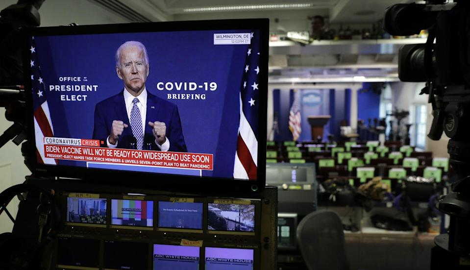 Mandatory Credit: Photo by Shutterstock (11009306d)Democratic President-elect Joe Biden is seen during his statement on television monitors in the briefing room at the White House in Washington.