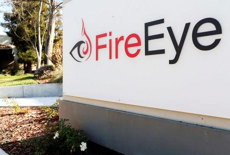 FILE PHOTO: FireEye logo is seen outside the company's offices in Milpitas,