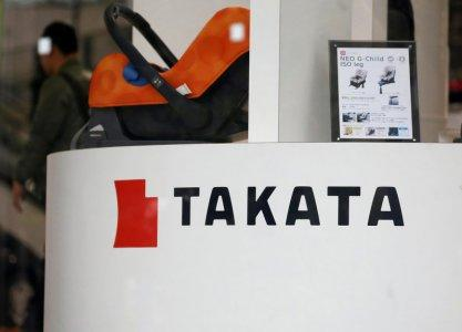 FILE PHOTO: The logo of Takata Corp is seen on its display at a showroom for vehicles in Tokyo, Japan, February 9, 2017. REUTERS/Toru Hanai/File Photo