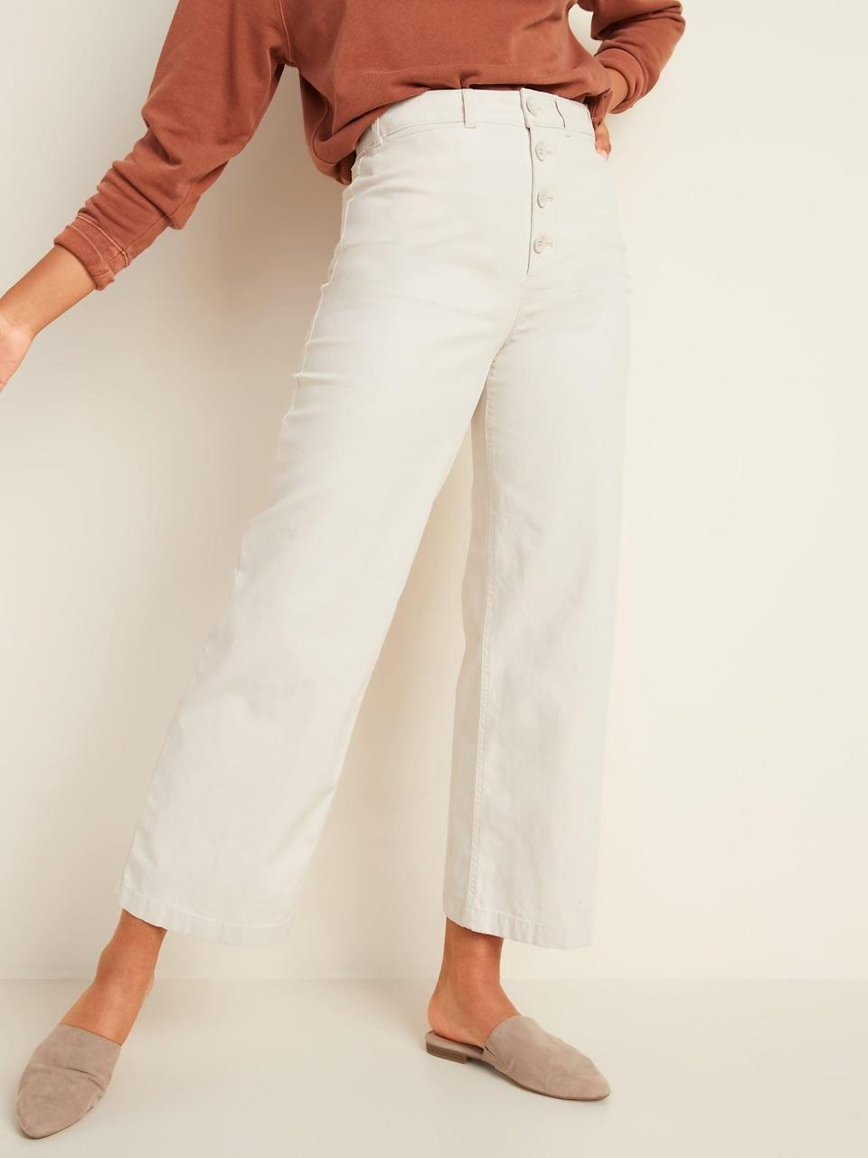 <p>I decided on the <span>Old Navy Extra High-Waisted Button-Fly Crop Wide-Leg Pants</span> ($35, originally $40) in an ivory shade because I can mix and match them with anything.</p>