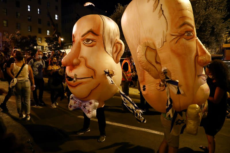 FILE PHOTO: Thousands protest against Israel's Netanyahu over economy, corruption allegations