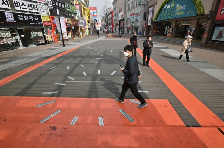 People were out and about on the streets of Daegu in South Korea on Friday despite a coronavirus outbreak
