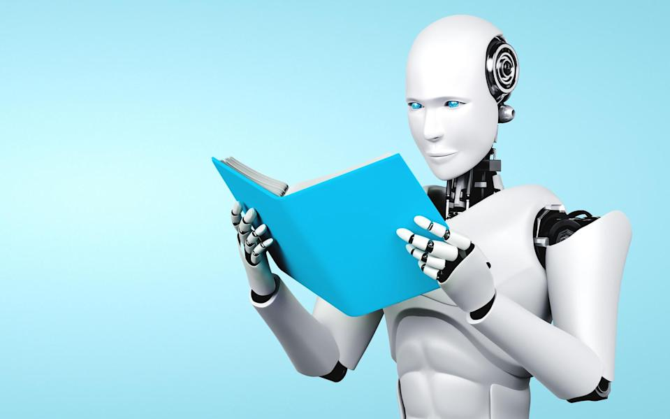 3D illustration of robot humanoid reading book in concept of future artificial intelligence and 4th fourth industrial revolution . (3D illustration of robot humanoid reading book in concept of future artificial intelligence and 4th fourth industrial r