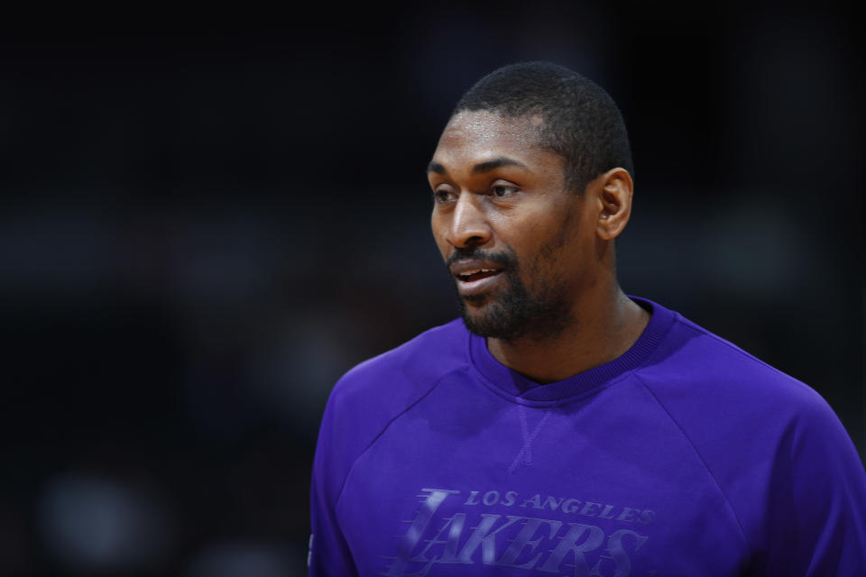 Los Angeles Lakers forward Metta World Peace (37) in the first half of an NBA basketball game Monday, March 13, 2017, in Denver. (AP Photo/David Zalubowski)