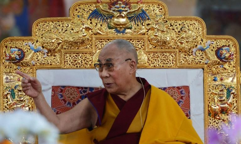 <p>Tibetan Spiritual Leader, The Dalai Lama gestures during a special religious teaching session at the Kalachakra event at Bodhgaya on January 5, 2017. </p>