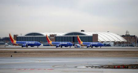 FILE PHOTO: Southwest Airlines Co. Boeing 737 MAX 8 aircraft at Midway International Airport in Chicago