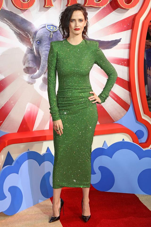 <p><strong>21 March </strong>Eva Green shimmered in this green Alexandre Vauthier number at the London premiere of <em>Dumbo. </em><strong></strong></p>