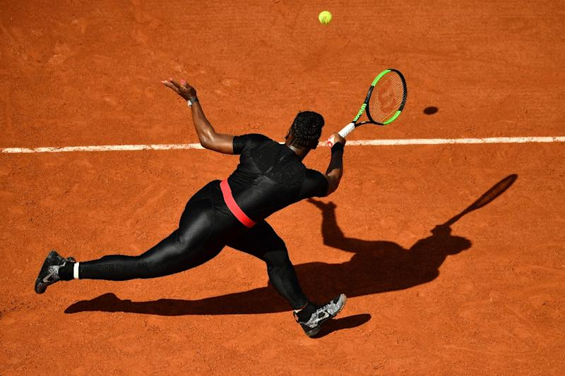 Back in black: Serena Williams in action at Roland Garros
