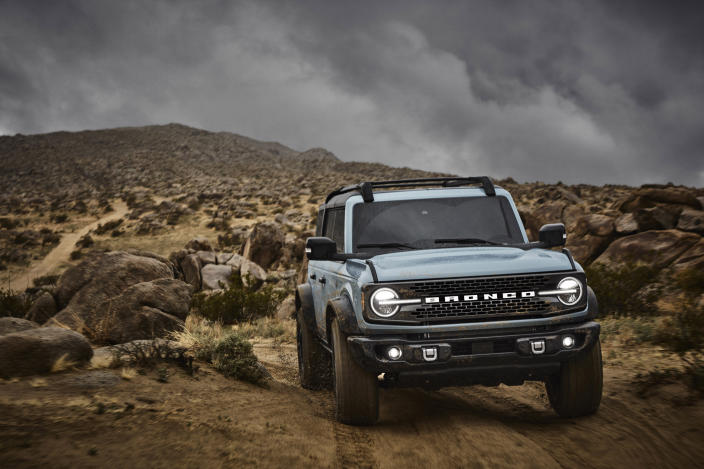 This undated photo provided by Ford shows the 2021 Ford Bronco, a modern revival of the off-road icon. ( Ford Motor Co. via AP)