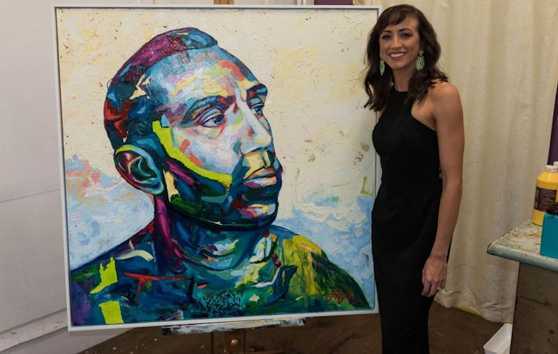 Australian artist Megan Adams has painted a portrait of Adam Goodes for the Archibald Prize, naming it <i>Colour Doesn't Matter</i>. Source: Supplied