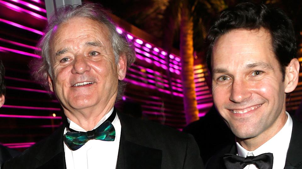 Bill Murray, and Paul Rudd attend the 2014 Vanity Fair Oscar Party. (Photo by Jeff Vespa/VF14/WireImage)