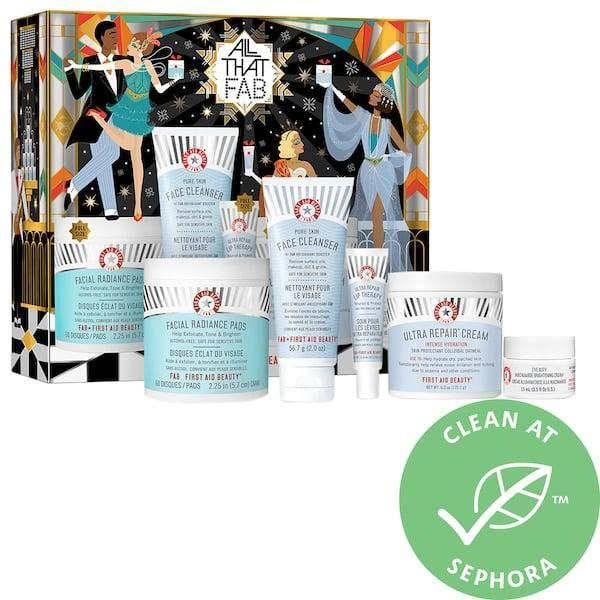 <p>There are four full-sized skin-care treats (and a mini cleanser) in this <span>First Aid Beauty All That FAB</span> ($49) gift kit, which totals $127 in value.</p>