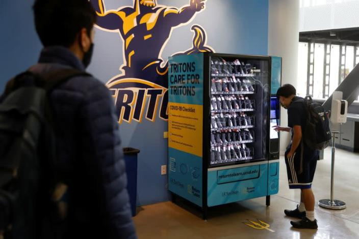 Self testing COVID-19 vending machines on campus at UC San Diego as students return to classes