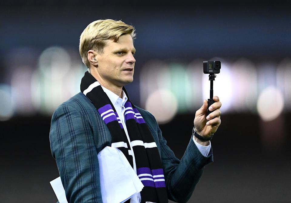 Nick Riewoldt (pictured) before commentary ahead of an AFL match.