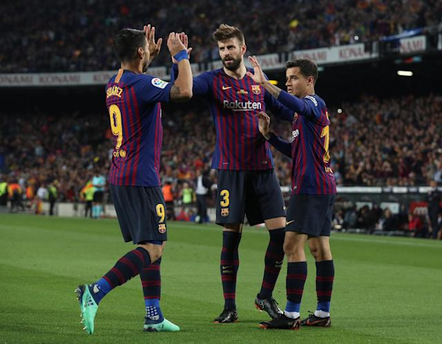 Soccer Football - La Liga Santander - FC Barcelona vs Real Sociedad - Camp Nou, Barcelona, Spain - May 20, 2018 Barcelona's Philippe Coutinho celebrates scoring their first goal with Luis Suarez and Gerard Pique REUTERS/Albert Gea