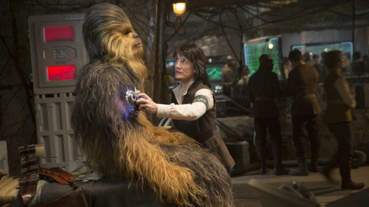 Dr. Kalonia attends to injured Chewie in 'The Force Awakens' (Lucasfilm)