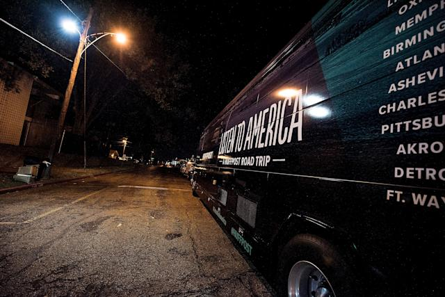 The HuffPost bus at Philander Smith College in Little Rock.