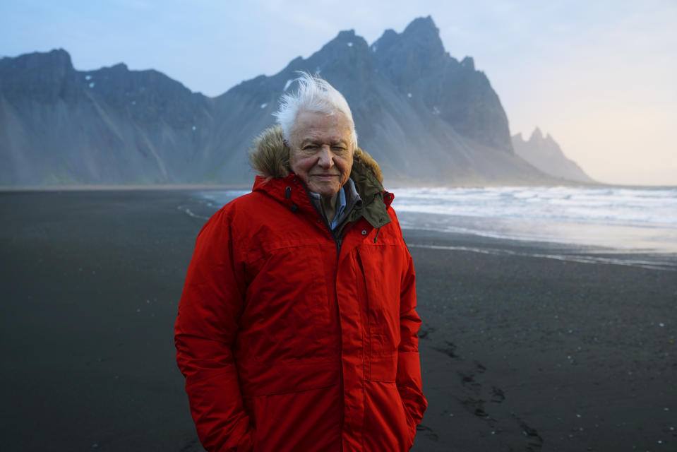 Sir David Attenborough filming at Stokksnes beach in Iceland for Seven Worlds, One Planet (Credit: BBC NHU)