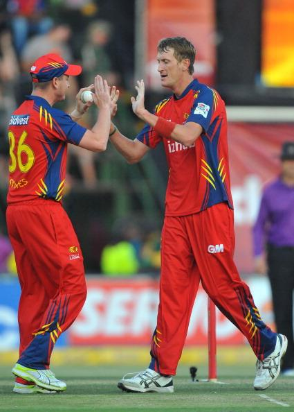 JOHANNESBURG, SOUTH AFRICA - OCTOBER 14:  Chris Morris of the Lions celebrates the wicket of Dwayne Smith of Mumbai during the Karbonn Smart CLT20 match between bizhub Highveld Lions and Mumbai Indians at Bidvest Wanderers Stadium on October 14, 2012 in Johannesburg, South Africa. (Photo by Duif du Toit / Gallo Images/Getty Images)