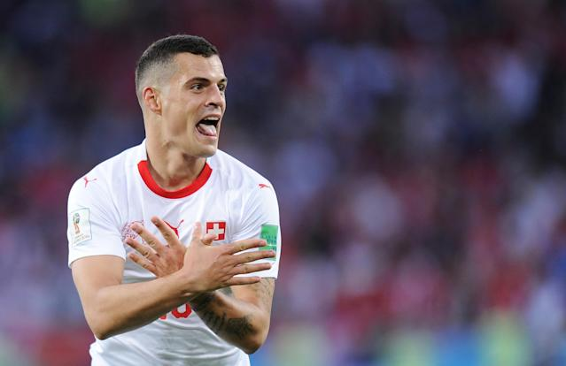 Granit Xhaka of Switzerland celebrates scoring a goal during the 2018 FIFA World Cup Russia group E match between Serbia and Switzerland at Kaliningrad Stadium on June 22, 2018 in Kaliningrad, Russia. (Getty Images)