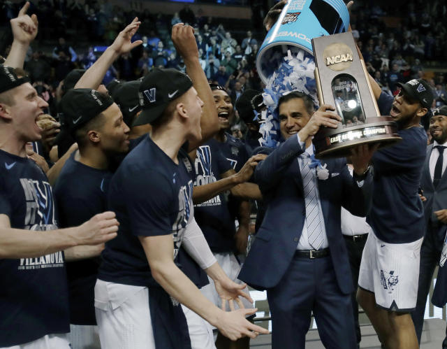 Villanova boasts three of the top six players in the rankings including Omari Spellman, seen here dumping confetti on Jay Wright's head. (AP Photo/Charles Krupa)