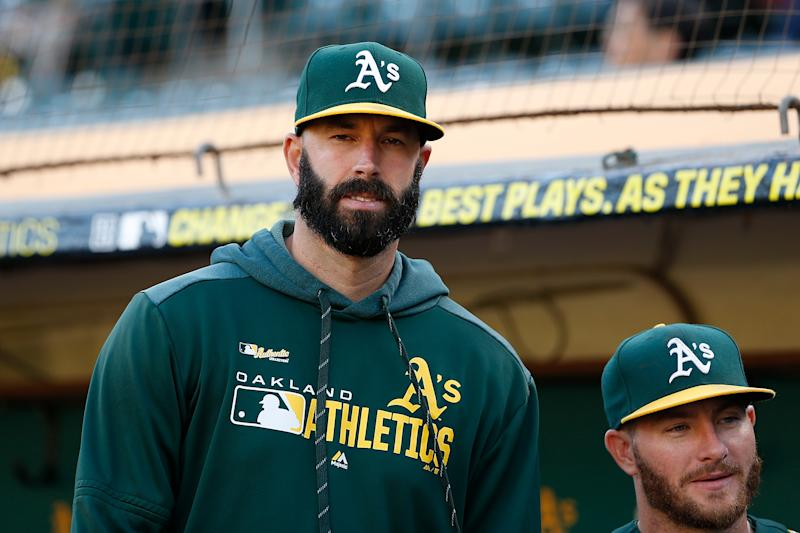 OAKLAND, CALIFORNIA - SEPTEMBER 06: Mike Fiers #50 of the Oakland Athletics looks on before the game against the Detroit Tigers at Ring Central Coliseum on September 06, 2019 in Oakland, California. This game is a continuation of one that was previously suspended at Comerica Park on May 19, 2019 in Detroit, Michigan. (Photo by Lachlan Cunningham/Getty Images)