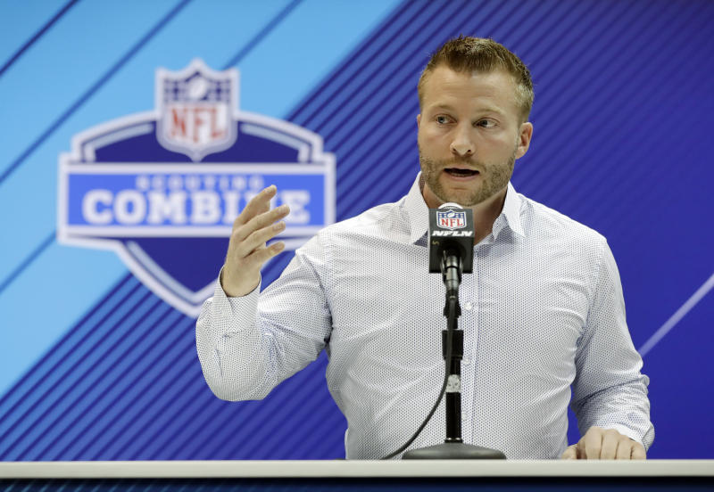 Los Angeles Rams head coach Sean McVay has a lot of new stars to work with. (AP)