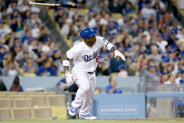 LOS ANGELES, CA - JUNE 04: Yasiel Puig #66 of the Los Angeles Dodgers hits a three run home run in the fifth inning to tie the score with the San Diego Padres at Dodger Stadium on June 4, 2013 in Los Angeles, California. (Photo by Stephen Dunn/Getty Images)