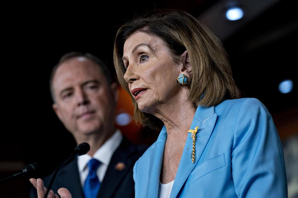 Pelosi's brooch symbolizes her authority as Speaker of the House. (Photo: Andrew Harrer/Bloomberg/Getty)