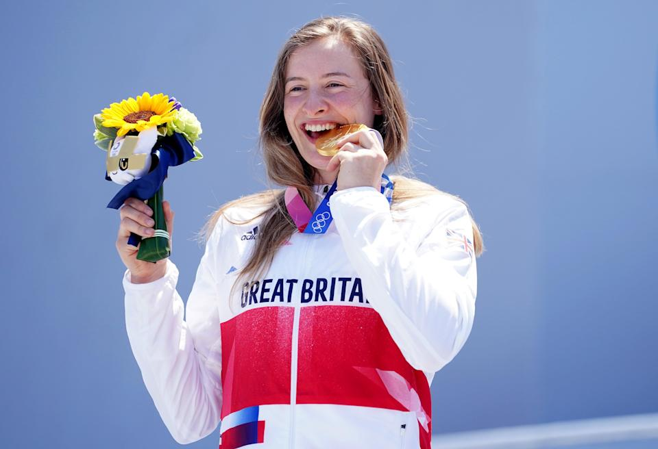 Great Britain's Charlotte Worthington with her gold medal following victory in the women's BMX freestyle final (Mike Egerton/PA Images). (PA Wire)