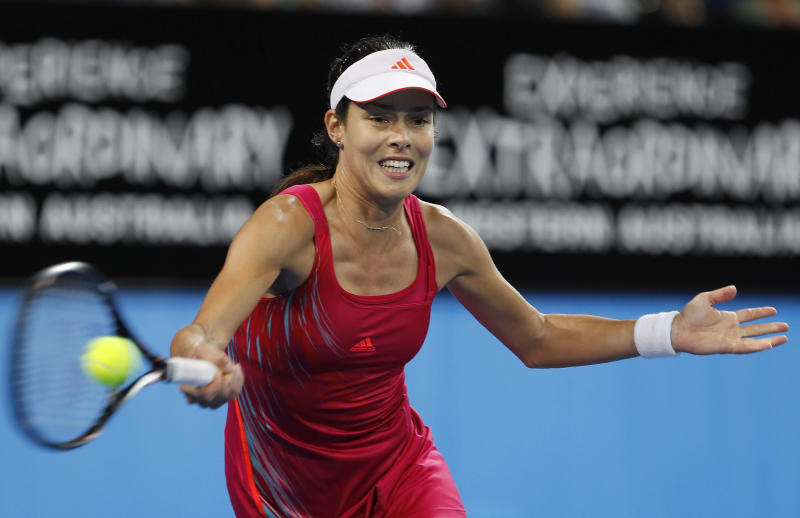 Serbia's Ana Ivanovic hits a forehand to Spain's Anabel Medina Garrigues during the women's final at the Hopman Cup tennis tournament in Perth, Australia, Saturday, Jan. 5, 2013. Garrigues won the match 6-4 6-7 6-2. (AP Photo/ Theron Kirkman)