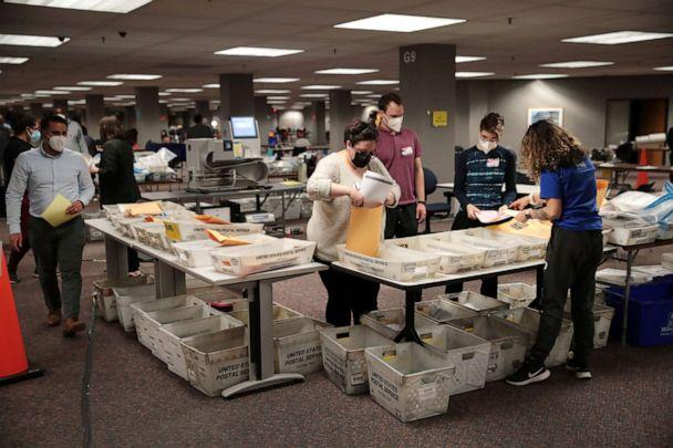 PHOTO: Election officials count absentee ballots, Nov. 4, 2020, in Milwaukee, Wisconsin. (Scott Olson/Getty Images, FILE)