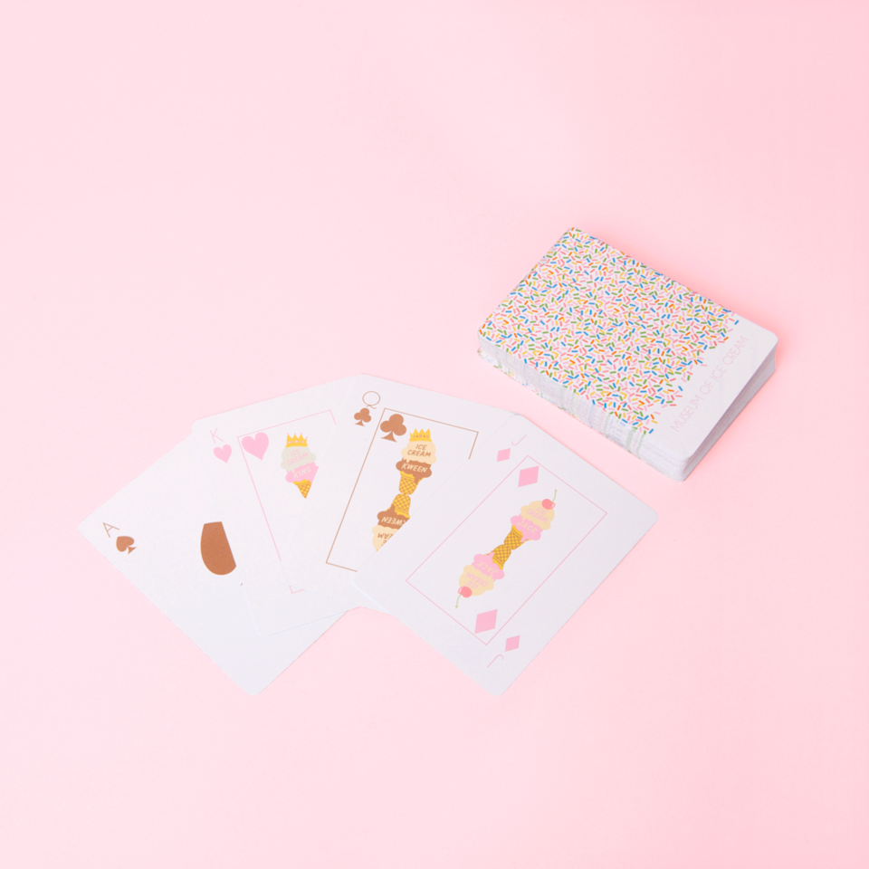 """<p>museumoficecream.com</p><p><strong>$6.00</strong></p><p><a href=""""https://shop.museumoficecream.com/collections/frontpage/products/playing-cards-sprinkle-print"""" rel=""""nofollow noopener"""" target=""""_blank"""" data-ylk=""""slk:BUY NOW"""" class=""""link rapid-noclick-resp"""">BUY NOW</a></p><p>These ice cream-inspired playing cards will make it hard to keep a poker face.</p>"""