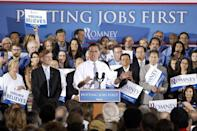 FILE - In this June 27, 2012, file photo, Republican presidential candidate Mitt Romney, accompanied by Virginia Gov. Bob McDonnell speaks during a campaign stop at Electronic Instrumentation and Technology in Sterling, Va. This year, the presidential race may come down to an even narrower slice of the electorate than simply the nine states where both Obama and Romney are aggressively competing: Florida, Ohio, Virginia, Colorado, Iowa, Nevada, New Hampshire, North Carolina and Wisconsin. (AP Photo/Charles Dharapak, File)