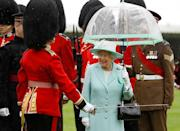 <p>During an inspection of the Scots Guards, Queen Elizabeth, dressed in head-to-toe mint, carried a particularly great matching umbrella.<br></p>
