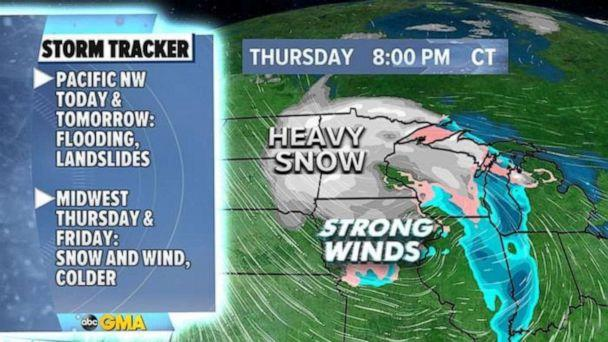 PHOTO: Some areas in the Upper Midwest and the Great Lakes could see more than a half a foot of snow by Friday morning. (ABC News)