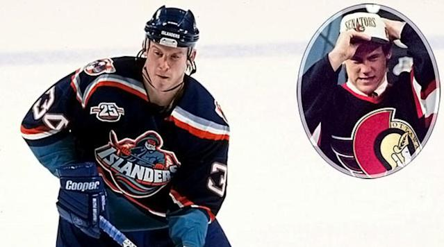 <p>Traded to the Islanders for the rights to Wade Redden, the swift, offensive-minded Berard beat out Jarome Iginla for the Calder Trophy, but had his career derailed by a serious eye injury in 2000. Returning with limited vision in 2001, Berard played for five teams before heading to Russia's KHL. — Notable picks: No. 2: Wade Redden, D, New York Islanders | No. 7: Shane Doan, C, Winnipeg Jets | No. 11: Jarome Iginla, RW, Dallas Stars | No. 13: Jean-Sebastien Giguere, G, Hartford Whalers | No. 91: Marc Savard, C, New York Rangers | No. 116: Miikka Kiprusoff, G, San Jose Sharks</p>