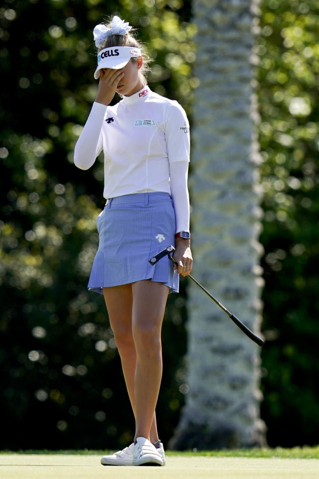 Nelly Korda reacts after missing a putt on the 15th hole during the first round of the LPGA Tour ANA Inspiration golf tournament at Mission Hills Country Club on Thursday, April 4, 2019, in Rancho Mirage, Calif. (AP Photo/Chris Carlson)