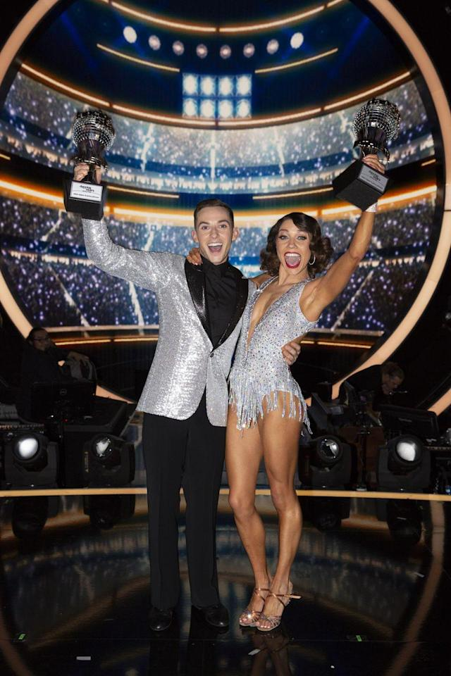 """<p>Adam Rippon became the third ice skater to win <em>DWTS</em> when he took home the trophy on the all-athletes season 26. His partner Jenna Johnson found a way to <a href=""""https://youtu.be/qOioqgPyCwE"""" rel=""""nofollow noopener"""" target=""""_blank"""" data-ylk=""""slk:highlight his skills early on"""" class=""""link rapid-noclick-resp"""">highlight his skills early on</a>.</p>"""