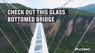 Would you be brave enough to walk on glass 300 meters above a canyon in China?