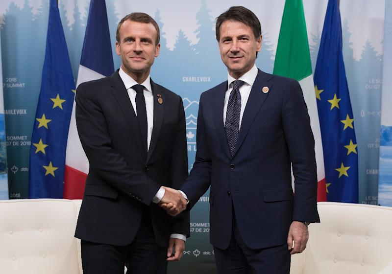 French president Emmanuel Macron (l) and Italian Prime Minister Giuseppe Conte striking a friendlier pose at the G7 summit in Canada this month (AFP Photo/Ian LANGSDON)
