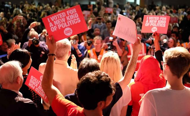 Momentum supporters and Jeremy Corbyn