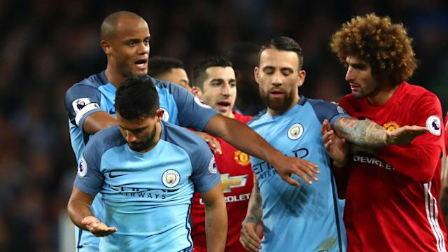 The Belgian was given his marching orders for an alleged headbutt on the City striker, whom Mourinho has accused of over-reacting