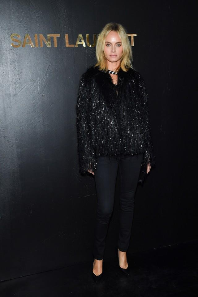 The actress sat front row at Saint Laurent alongside G-Eazy, Kate Moss and Nicole Richie.