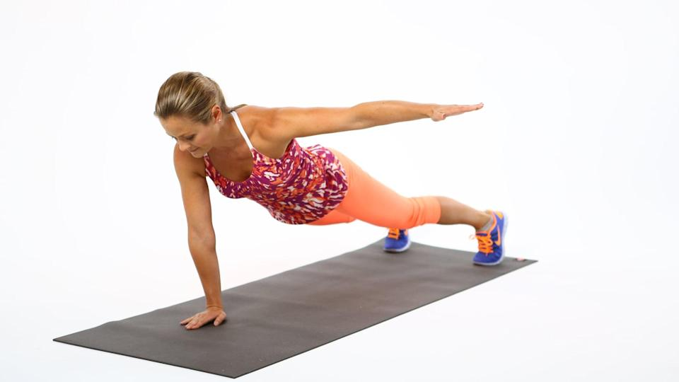 <ul> <li>Start in a plank position.</li> <li>Keeping your torso stable, slowly reach your left arm out to your side. Brace through the abs by pulling your navel to your spine. Hold this position for five seconds. If you feel too unstable, try moving your right hand so it is under the center of your chest rather than under your right shoulder. </li> <li>Keeping your torso stable, bring your arm back to the plank position. Do not round your back or twist your spine. </li> <li>Repeat this same motion on the other side, extending your right arm to your side. This counts as one rep.</li> </ul>
