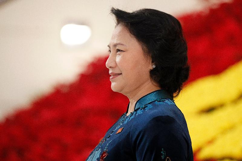 Nguyen Thi Kim Ngan, new chairperson of Vietnam's rubber stamp National Assembly, is the highest ranking female party official (AFP Photo/Minh Hoang)